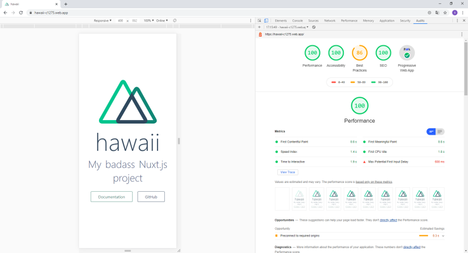 Page du rendu final de l'application, toujours avec l'entreprise Hawaii pour exemple.