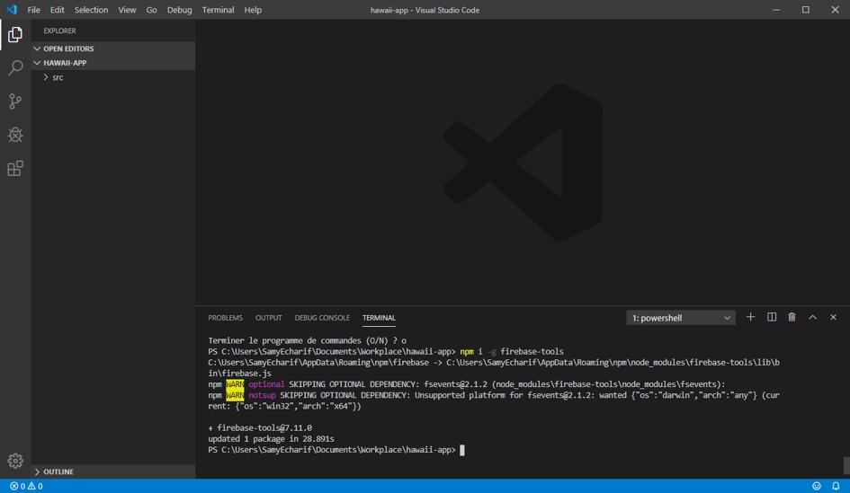 Page de développement Firebase