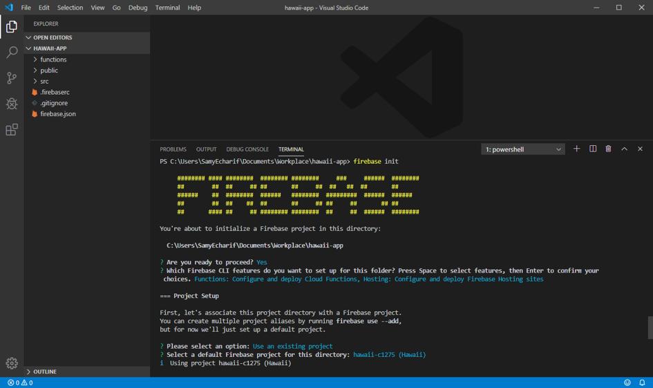 """3ème page de développement Firebase où nous pouvons distinguer """"FIREBASE"""" écrit en gros et en jaune."""