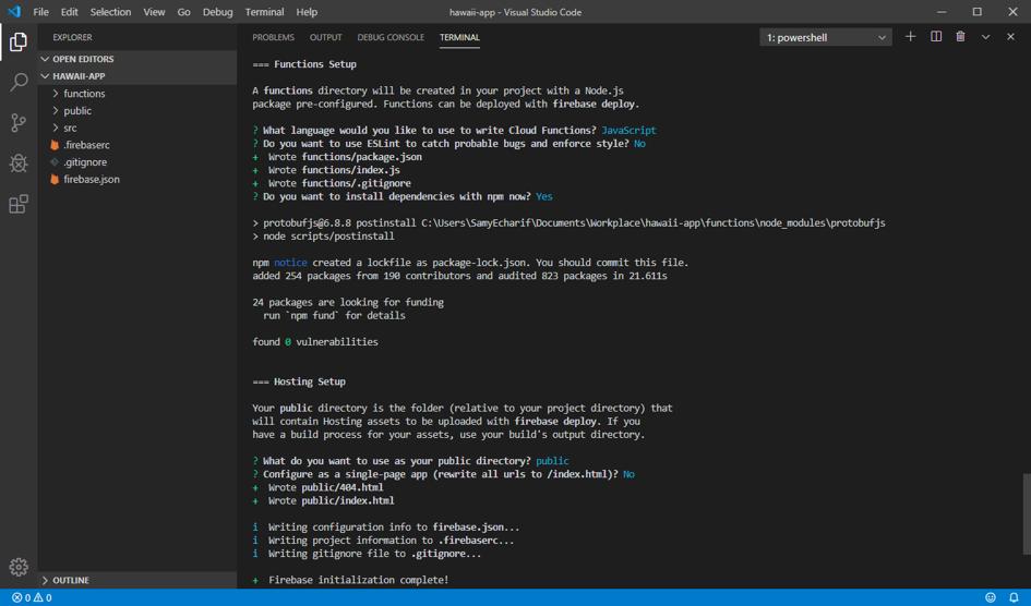 Dernière page de développement Firebase