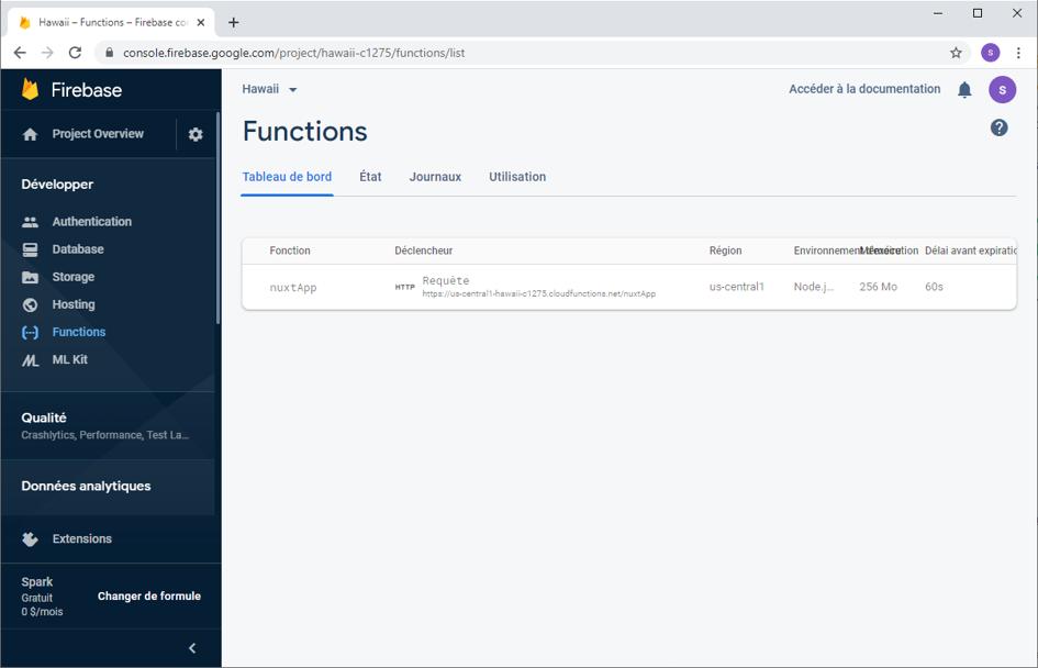 Page du résultat du déploiement dans l'appli Firebase sous Firebase