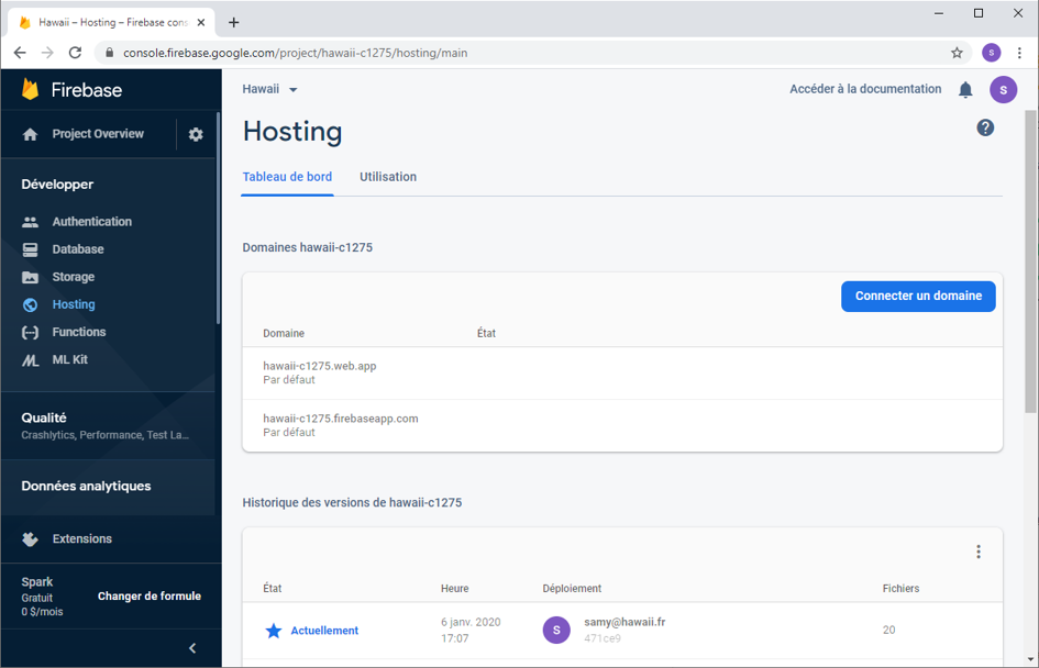 Page du résultat du déploiement dans l'appli Firebase sous Hosting
