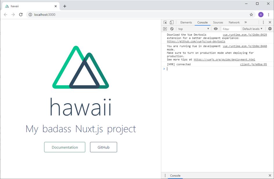 Rendue de la page de développement NUXT avec le nom de l'entreprise Hawaii comme exemple
