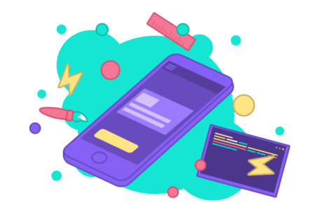 Un smartphone, une règle et un pinceau dessinés graphiquement et avec des couleurs violettes, vertes, jaunes et rosé.