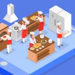 une cuisine avec des cuisiniers qui font des pizzas