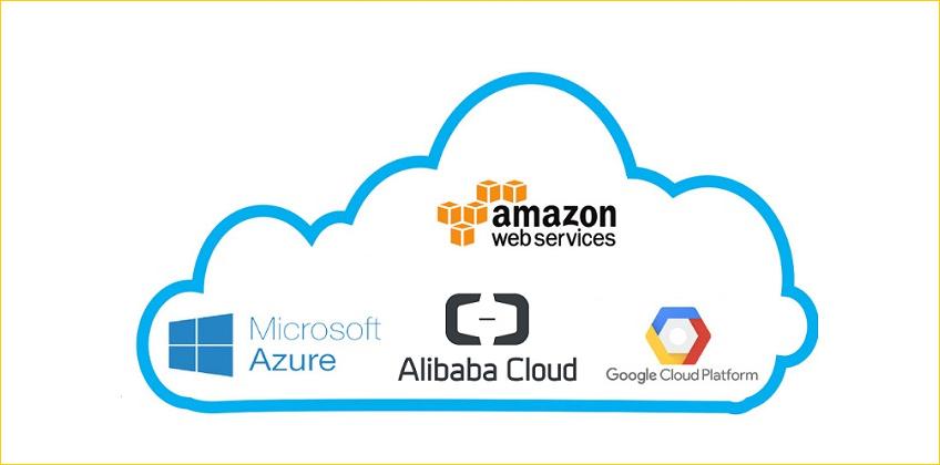 Le logo d'Amazon, Google, Microsoft et Alibaba, dans un nuage, celui du Cloud