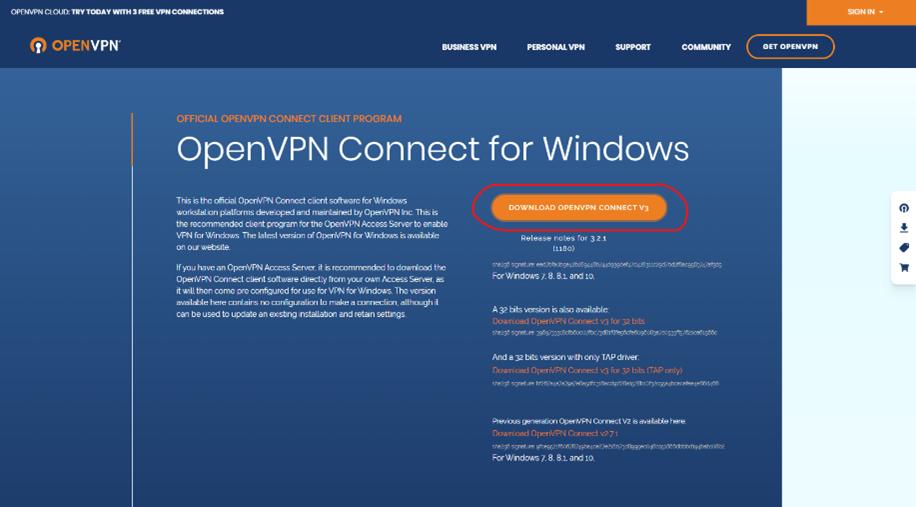 Une page internet de VPN