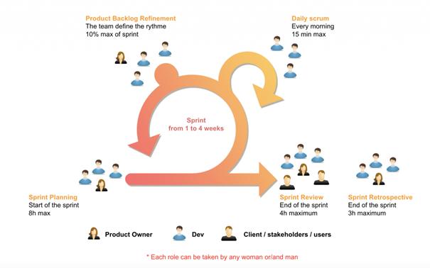 Un schéma explicatif de l'organisation d'une équipe de développeurs