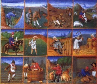 Des peintures du travail au Moyen-Age.