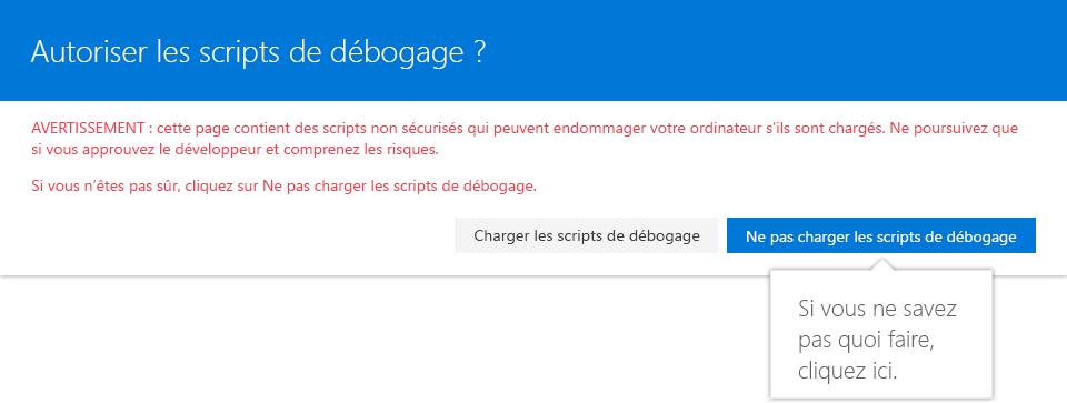Page autorisant les scripts de débogage pour SharePoint